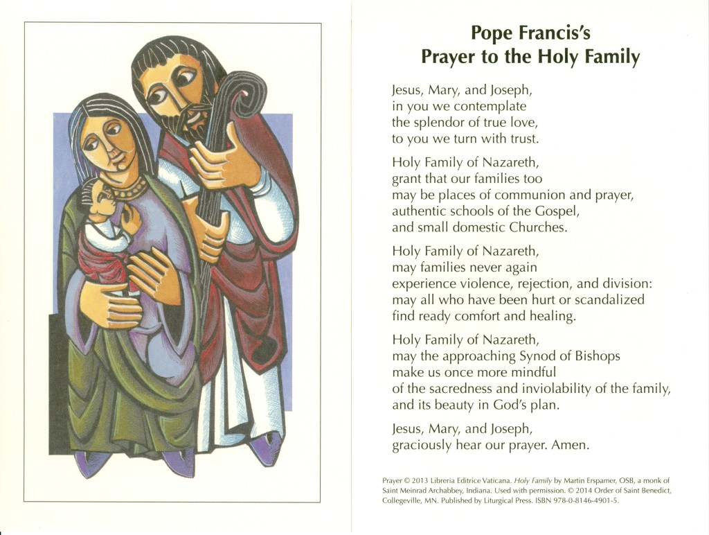 Prayer to the Holy Family - smaller